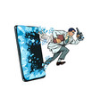 a male scientist with a microscope phone gadget vector image