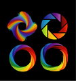 A set of rainbow colored photography shutter logos vector image