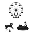 amusement park black icons in set collection for vector image vector image