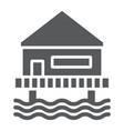 beach bungalow glyph icon seaside and hut beach vector image vector image