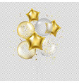 birthday golden star balloons and confetti vector image vector image