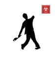 black silhouette zombie on white background vector image vector image