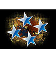 blue stars on the dark background vector image vector image