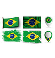 brazilian flags collection isolated on white vector image