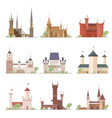 castles and fortresses set flat cartoon style vector image