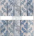 damask patterns set collection classic vector image vector image