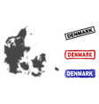 denmark map in halftone dot style with grunge name vector image