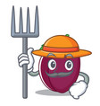 farmer plum character cartoon style vector image