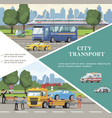 flat city transport template vector image vector image