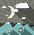 flat design mountains and moon landscape vector image vector image