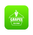 fresh grapes icon green vector image