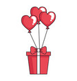 giftbox with heart shaped party balloons vector image