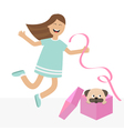 Girl jumping for joy Gift box with puppy pug dog vector image vector image
