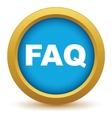 Gold faq icon vector image