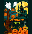halloween pumpkin and ghost house greeting banner vector image vector image