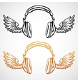 hand drawn concept Headphones with wings vector image vector image