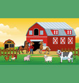 happy animals farm with farmer in farm vector image
