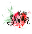 hello summer inscription on watercolor background vector image vector image