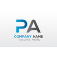 initial pa letter logo with creative modern vector image vector image