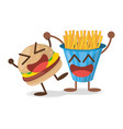kawaii burger french fries fast food vector image