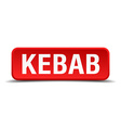 Kebab red 3d square button isolated on white vector image