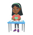 little african-american girl playing the piano vector image vector image