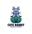 logo cute rabbit mascot cartoon style vector image