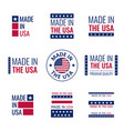 made in usa labels set american product vector image vector image