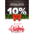 merry christmas holiday sale 10 percent off vector image