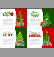 merry christmas postcards with green xmas trees vector image vector image