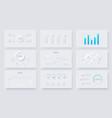 nine slides with neumorphic infographics elements vector image