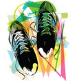 pair of running shoes laid on abstract background vector image