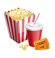 popcorn with soda and tickets isolated on white vector image vector image