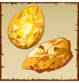 Raw gold and faceted gemstone two icons vector image vector image