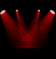 red spotlights on dark background vector image vector image