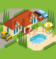 rich people villa isometric vector image vector image