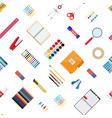 seamless pattern stationery set vector image