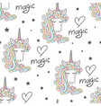 seamless pattern with rainbow unicorns on a white vector image vector image