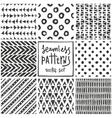 set 8 primitive geometric patterns tribal vector image vector image