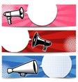 set banner templates with megaphone for poster vector image