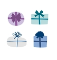 Set of colorful gift boxes with ribbons and