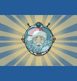 space helmet with santa claus astronaut vector image vector image