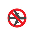 stop airplane flyghts attention sign flight ban vector image