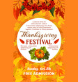 thanksgiving day festival banner of autumn harvest vector image vector image