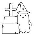 tombstone ghost trick or treat happy halloween vector image vector image