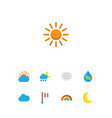 weather icons flat style set with crescent flag vector image