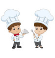 kid cartoon chef are preparing food vector image