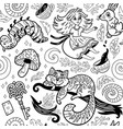 fairytale ink background with cartoon characters vector image