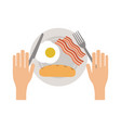 american breakfast on dish vector image