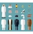 Arab man clothes and accessories vector image vector image